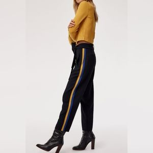 Aritzia Wilfred pants yellow and blue strips.
